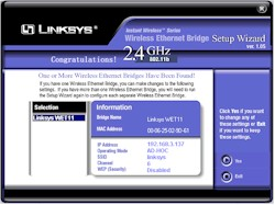 Linksys WET11- Setup Wizard - System Scan result