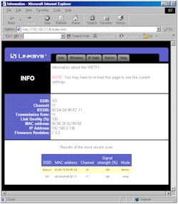 Linksys WET11- Web I/F Info screen