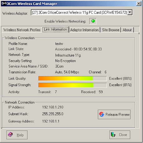 3Com 11g Wireless card: Card Manager