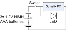 Wiring Diagram for the computer, batteries, LED and switch