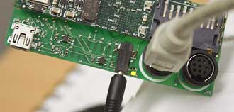 Gumstix power and serial connectors connected
